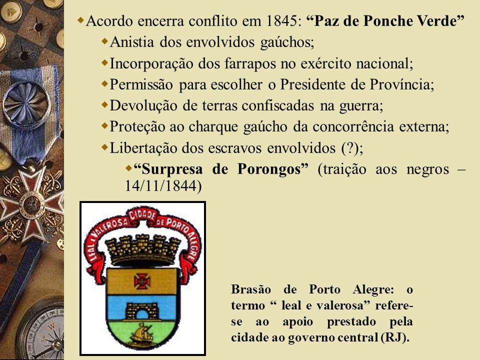 Acordo encerra conflito em 1845: Paz de Ponche Verde Anistia dos envolvidos gaúchos; Incorporação dos farrapos no exército nacional; Permissão para es