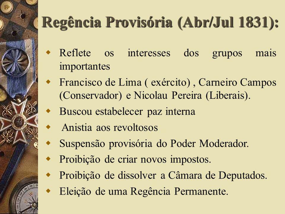 Reflete os interesses dos grupos mais importantes Francisco de Lima ( exército), Carneiro Campos (Conservador) e Nicolau Pereira (Liberais). Buscou es