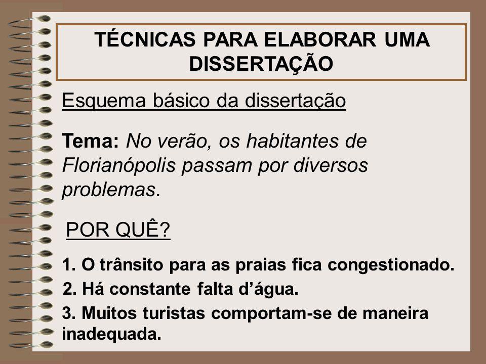 TÉCNICAS PARA ELABORAR UMA DISSERTAÇÃO Esquema básico da dissertação Tema: No verão, os habitantes de Florianópolis passam por diversos problemas. POR