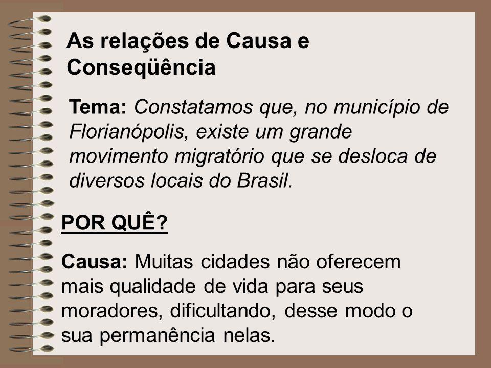 As relações de Causa e Conseqüência Tema: Constatamos que, no município de Florianópolis, existe um grande movimento migratório que se desloca de dive