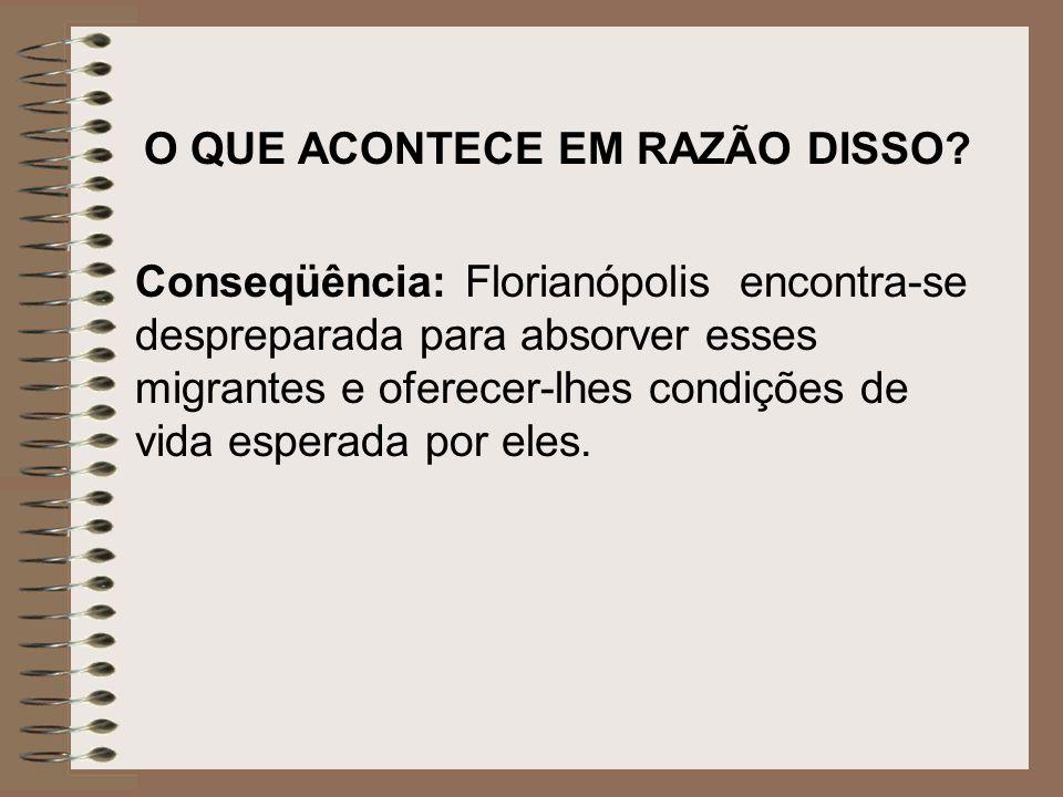 O QUE ACONTECE EM RAZÃO DISSO? Conseqüência: Florianópolis encontra-se despreparada para absorver esses migrantes e oferecer-lhes condições de vida es