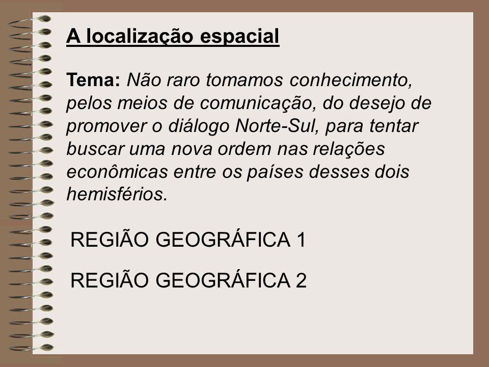 A localização espacial Tema: Não raro tomamos conhecimento, pelos meios de comunicação, do desejo de promover o diálogo Norte-Sul, para tentar buscar