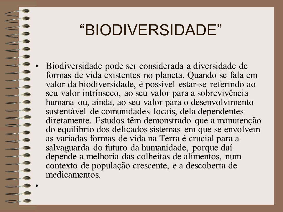 BIODIVERSIDADE Biodiversidade pode ser considerada a diversidade de formas de vida existentes no planeta. Quando se fala em valor da biodiversidade, é