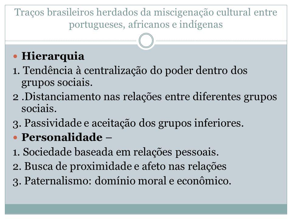 Traços brasileiros herdados da miscigenação cultural entre portugueses, africanos e indígenas Hierarquia 1. Tendência à centralização do poder dentro