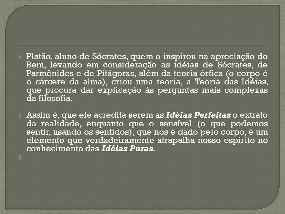 Platão, aluno de Sócrates, quem o inspirou na apreciação do Bem, levando em consideração as idéias de Sócrates, de Parmênides e de Pitágoras, além da