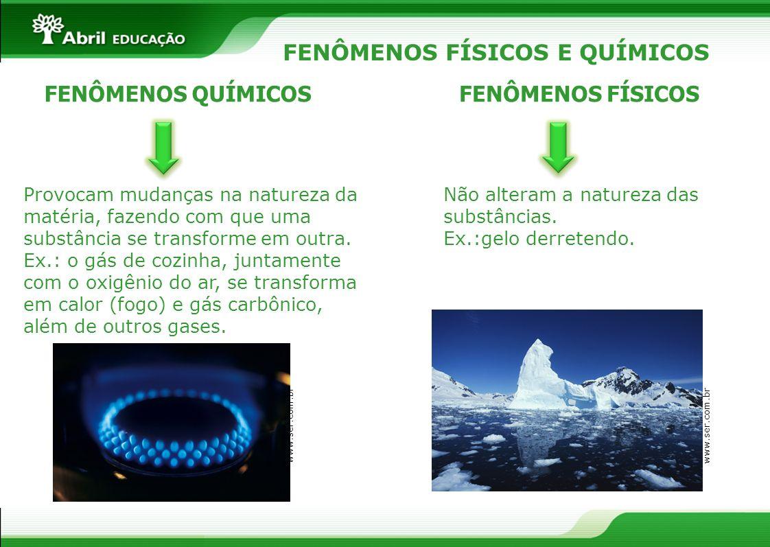 FENÔMENOS FÍSICOS E QUÍMICOS FENÔMENOS QUÍMICOSFENÔMENOS FÍSICOS Provocam mudanças na natureza da matéria, fazendo com que uma substância se transform