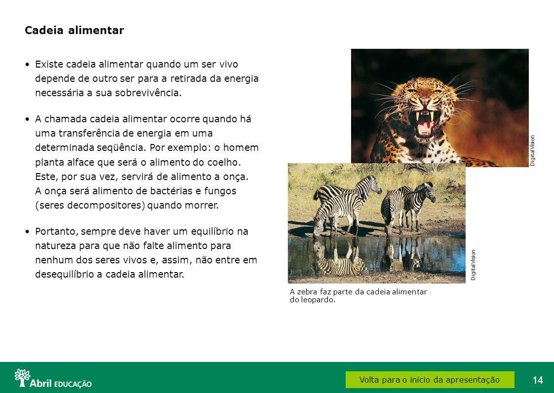 14 A zebra faz parte da cadeia alimentar do leopardo. Volta para o início da apresentação Cadeia alimentar Existe cadeia alimentar quando um ser vivo
