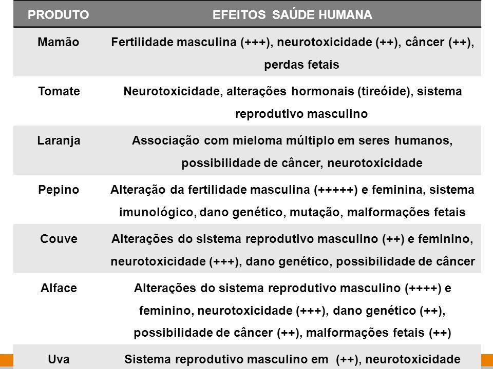 Instituto Nacional de Controle de Qualidade em Saúde 11 karen.friedrich@incqs.fiocruz.br PRODUTOEFEITOS SAÚDE HUMANA Mamão Fertilidade masculina (+++)