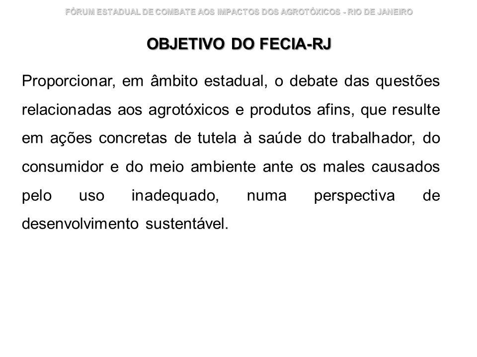 Instituto Nacional de Controle de Qualidade em Saúde 13 FÓRUM ESTADUAL DE COMBATE AOS IMPACTOS DOS AGROTÓXICOS - RIO DE JANEIRO OBJETIVO DO FECIA-RJ P