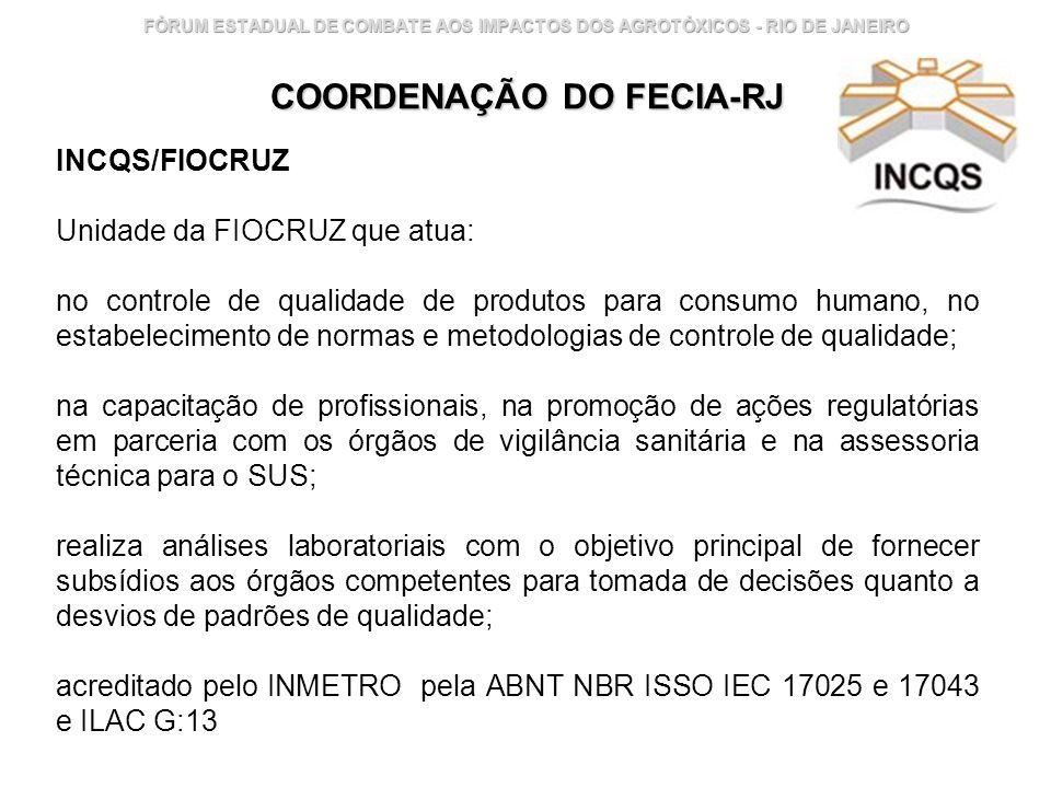 Instituto Nacional de Controle de Qualidade em Saúde 16 FÓRUM ESTADUAL DE COMBATE AOS IMPACTOS DOS AGROTÓXICOS - RIO DE JANEIRO COORDENAÇÃO DO FECIA-R