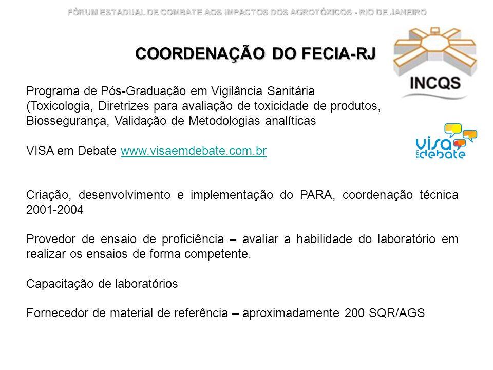 Instituto Nacional de Controle de Qualidade em Saúde 17 FÓRUM ESTADUAL DE COMBATE AOS IMPACTOS DOS AGROTÓXICOS - RIO DE JANEIRO Programa de Pós-Gradua