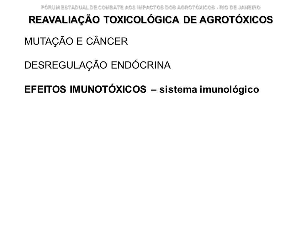 Instituto Nacional de Controle de Qualidade em Saúde 28 FÓRUM ESTADUAL DE COMBATE AOS IMPACTOS DOS AGROTÓXICOS - RIO DE JANEIRO REAVALIAÇÃO TOXICOLÓGI