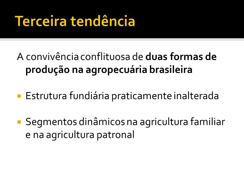 A convivência conflituosa de duas formas de produção na agropecuária brasileira Estrutura fundiária praticamente inalterada Segmentos dinâmicos na agr