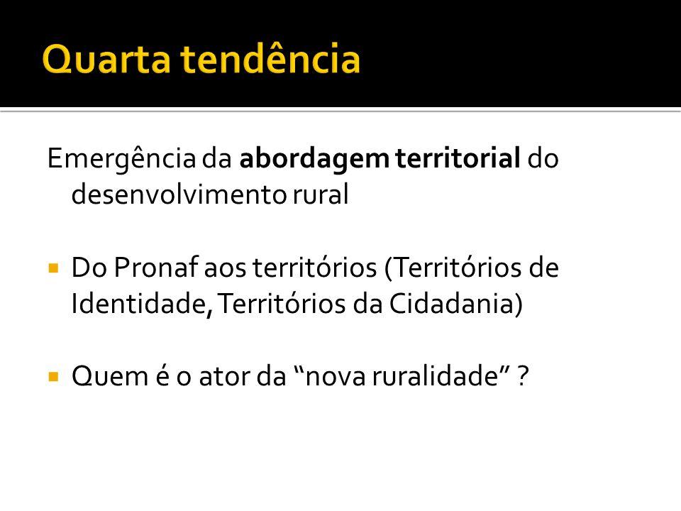 Emergência da abordagem territorial do desenvolvimento rural Do Pronaf aos territórios (Territórios de Identidade, Territórios da Cidadania) Quem é o