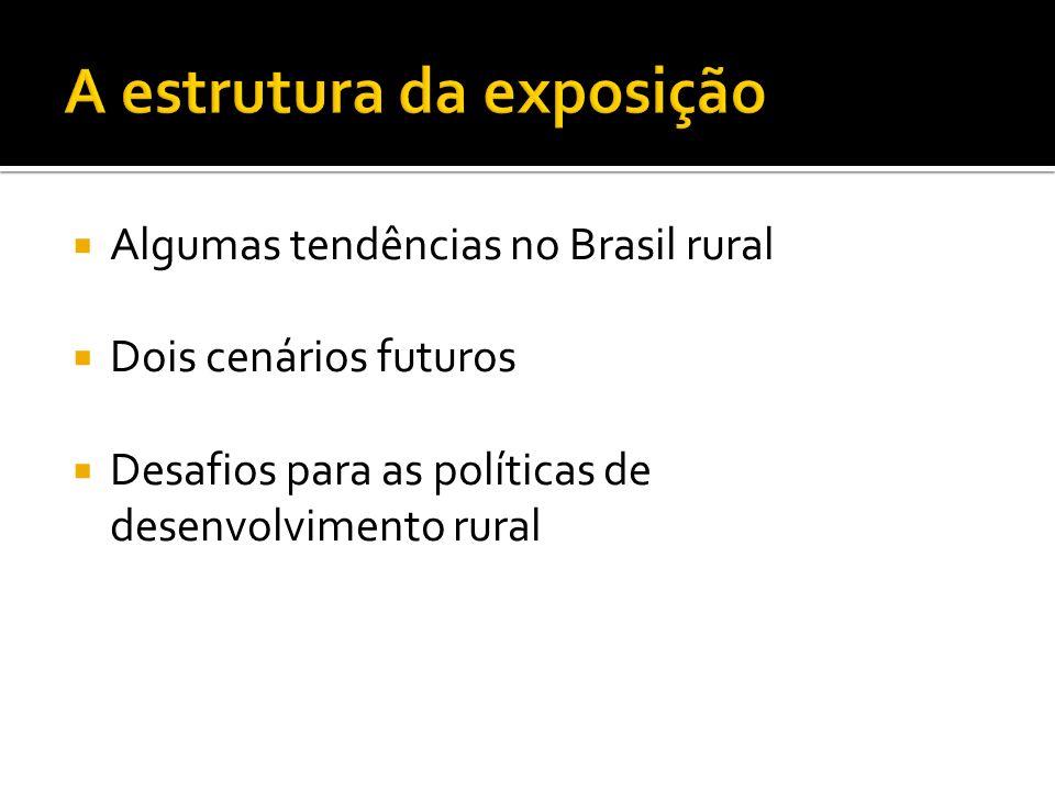 Algumas tendências no Brasil rural Dois cenários futuros Desafios para as políticas de desenvolvimento rural