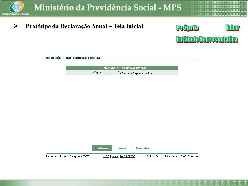 Protótipo da Declaração Anual – Tela Inicial Protótipo da Declaração Anual – Tela Inicial