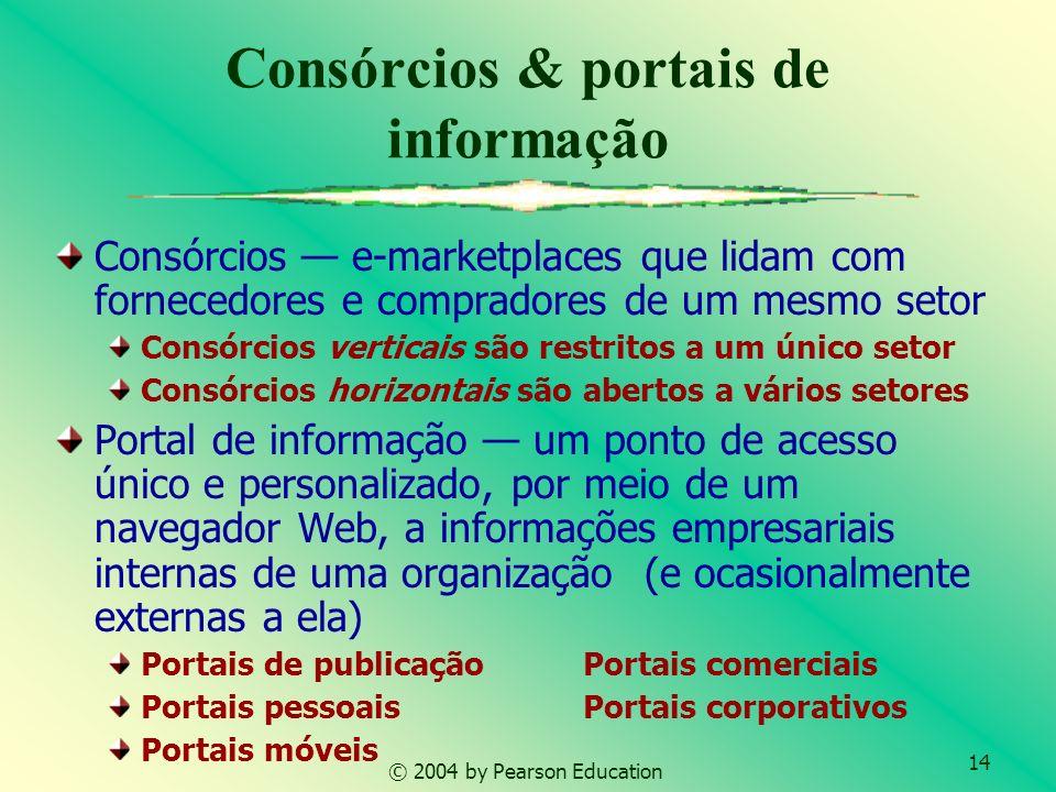 14 © 2004 by Pearson Education Consórcios & portais de informação Consórcios e-marketplaces que lidam com fornecedores e compradores de um mesmo setor