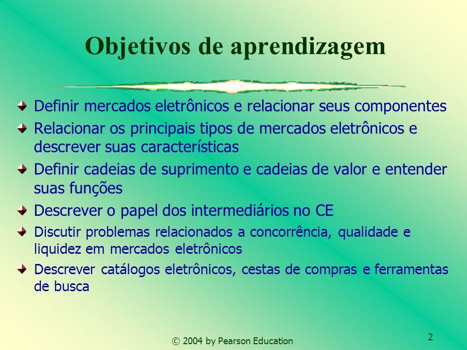 2 © 2004 by Pearson Education Objetivos de aprendizagem Definir mercados eletrônicos e relacionar seus componentes Relacionar os principais tipos de m