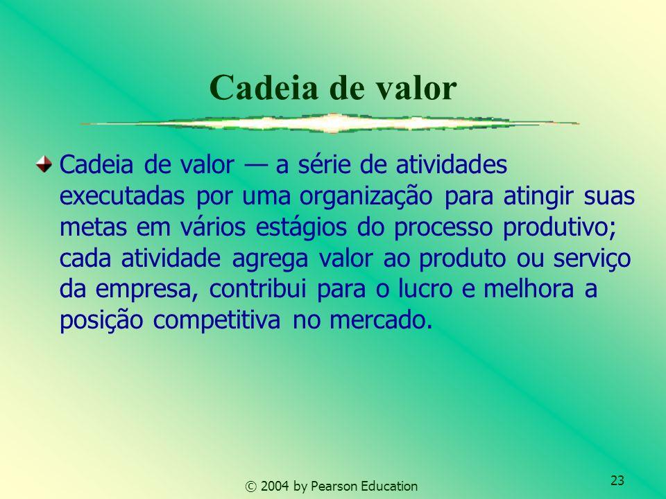 23 © 2004 by Pearson Education Cadeia de valor Cadeia de valor a série de atividades executadas por uma organização para atingir suas metas em vários