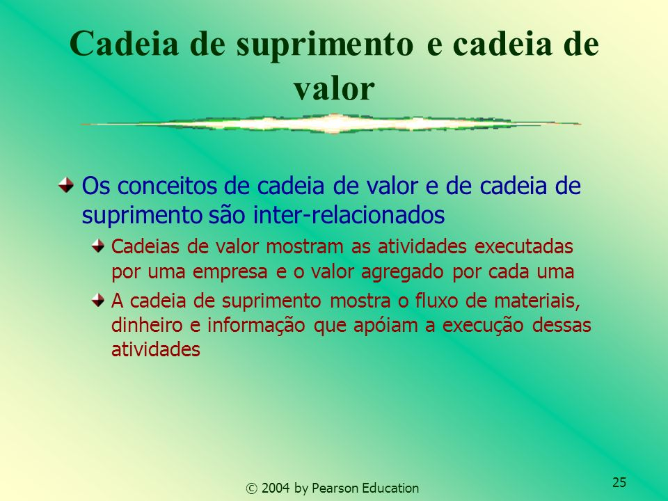 25 © 2004 by Pearson Education Cadeia de suprimento e cadeia de valor Os conceitos de cadeia de valor e de cadeia de suprimento são inter-relacionados