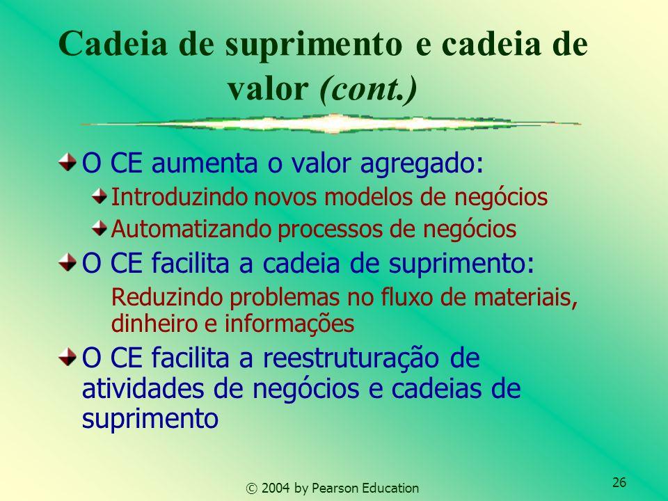 26 © 2004 by Pearson Education Cadeia de suprimento e cadeia de valor (cont.) O CE aumenta o valor agregado: Introduzindo novos modelos de negócios Au