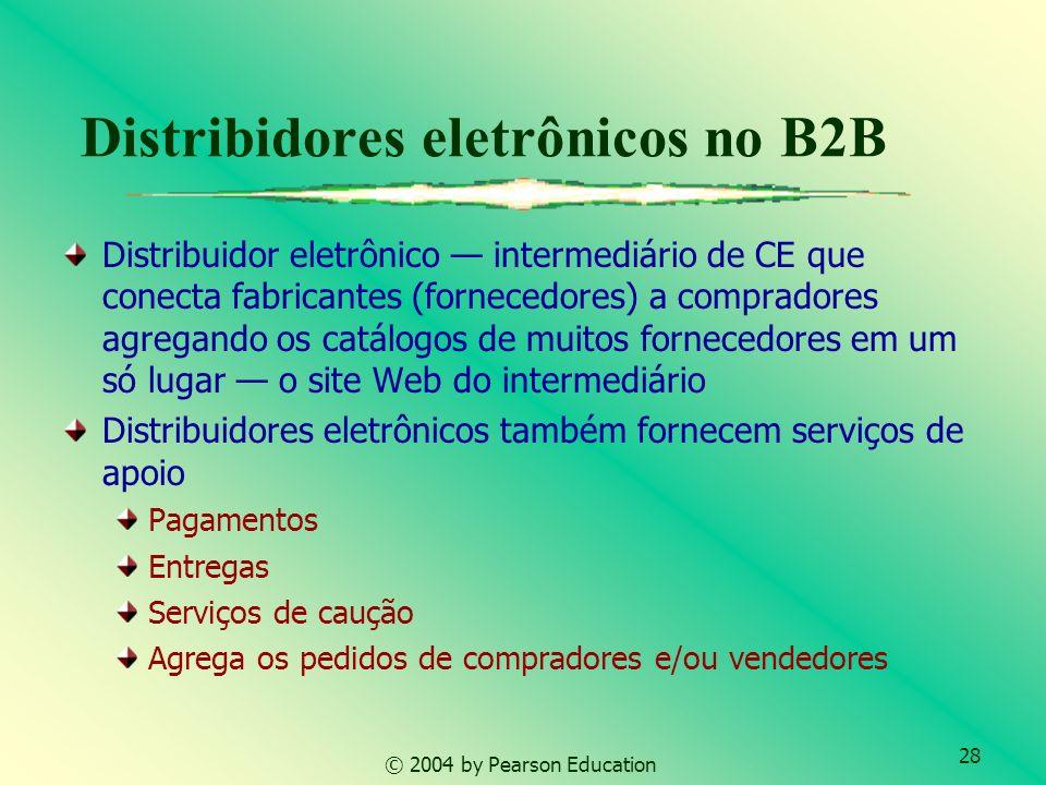 28 © 2004 by Pearson Education Distribidores eletrônicos no B2B Distribuidor eletrônico intermediário de CE que conecta fabricantes (fornecedores) a c