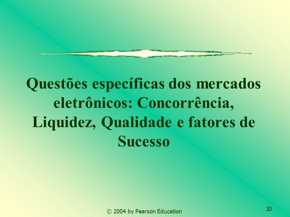 30 Questões específicas dos mercados eletrônicos: Concorrência, Liquidez, Qualidade e fatores de Sucesso © 2004 by Pearson Education
