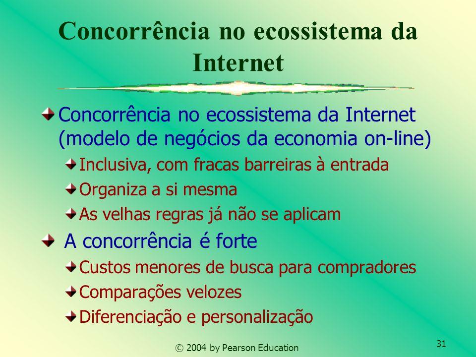 31 © 2004 by Pearson Education Concorrência no ecossistema da Internet Concorrência no ecossistema da Internet (modelo de negócios da economia on-line