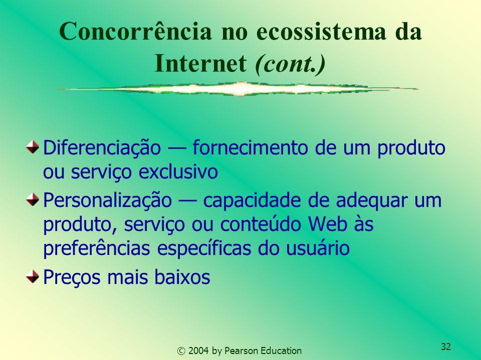 32 © 2004 by Pearson Education Concorrência no ecossistema da Internet (cont.) Diferenciação fornecimento de um produto ou serviço exclusivo Personali