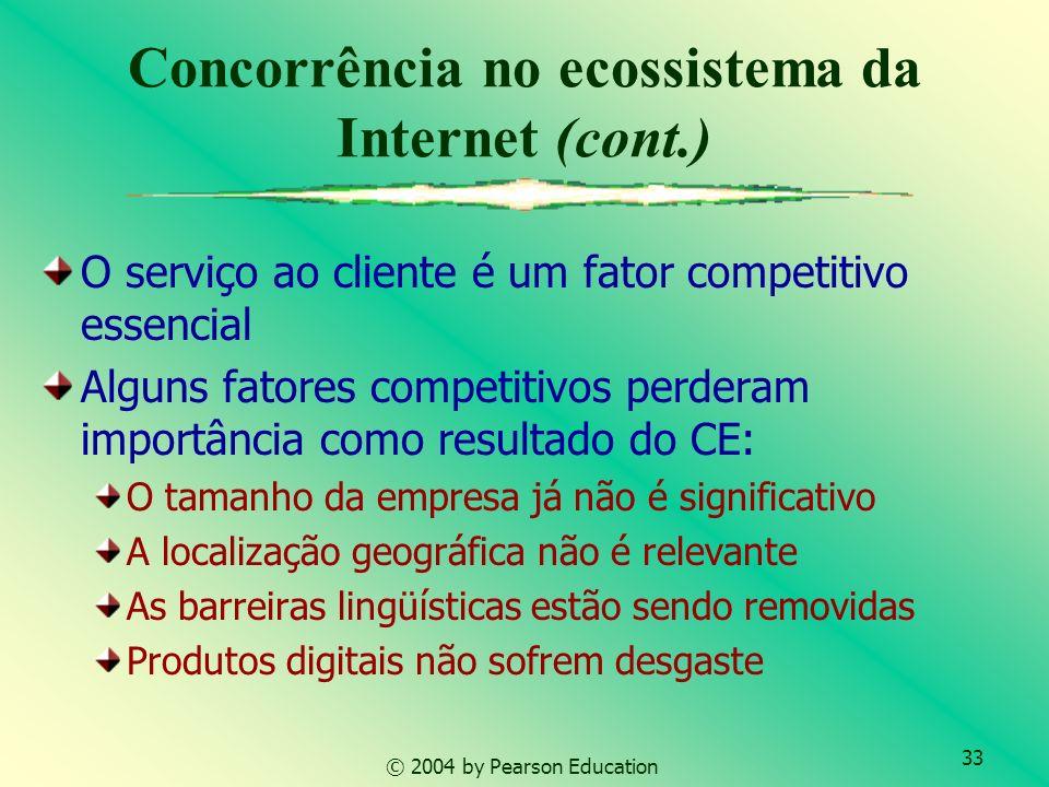 33 © 2004 by Pearson Education Concorrência no ecossistema da Internet (cont.) O serviço ao cliente é um fator competitivo essencial Alguns fatores co