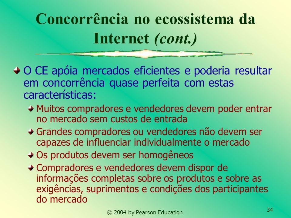 34 © 2004 by Pearson Education Concorrência no ecossistema da Internet (cont.) O CE apóia mercados eficientes e poderia resultar em concorrência quase
