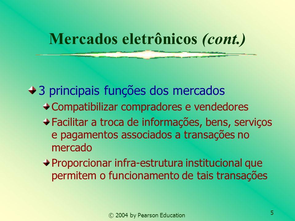 5 © 2004 by Pearson Education Mercados eletrônicos (cont.) 3 principais funções dos mercados Compatibilizar compradores e vendedores Facilitar a troca