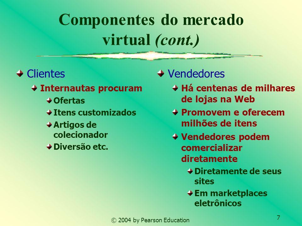 7 © 2004 by Pearson Education Componentes do mercado virtual (cont.) Clientes Internautas procuram Ofertas Itens customizados Artigos de colecionador