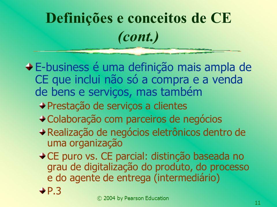 © 2004 by Pearson Education 11 Definições e conceitos de CE (cont.) E-business é uma definição mais ampla de CE que inclui não só a compra e a venda d