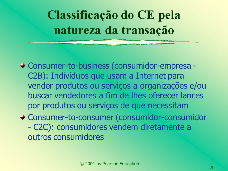 © 2004 by Pearson Education 20 Consumer-to-business (consumidor-empresa - C2B): Indivíduos que usam a Internet para vender produtos ou serviços a orga