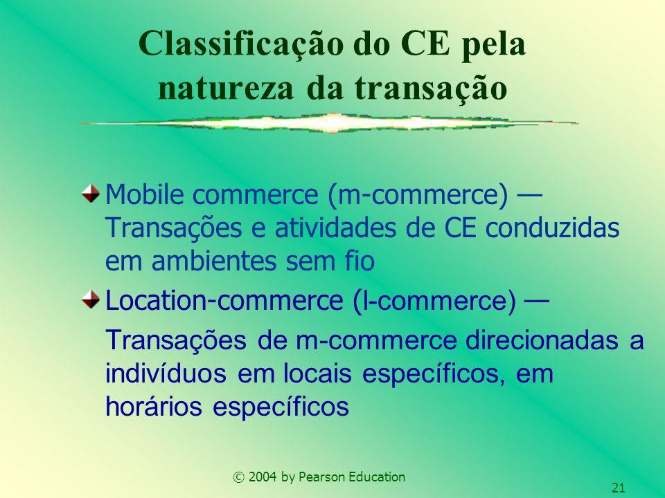 © 2004 by Pearson Education 21 Mobile commerce (m-commerce) Transações e atividades de CE conduzidas em ambientes sem fio Location-commerce ( l-commer