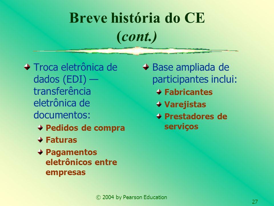 © 2004 by Pearson Education 27 Troca eletrônica de dados (EDI) transferência eletrônica de documentos: Pedidos de compra Faturas Pagamentos eletrônico