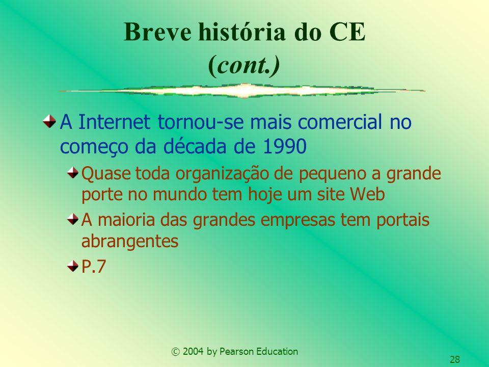 © 2004 by Pearson Education 28 A Internet tornou-se mais comercial no começo da década de 1990 Quase toda organização de pequeno a grande porte no mun