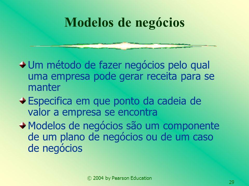 © 2004 by Pearson Education 29 Um método de fazer negócios pelo qual uma empresa pode gerar receita para se manter Especifica em que ponto da cadeia d