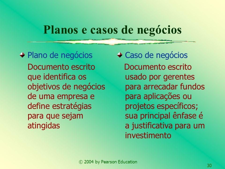 © 2004 by Pearson Education 30 Planos e casos de negócios Plano de negócios Documento escrito que identifica os objetivos de negócios de uma empresa e