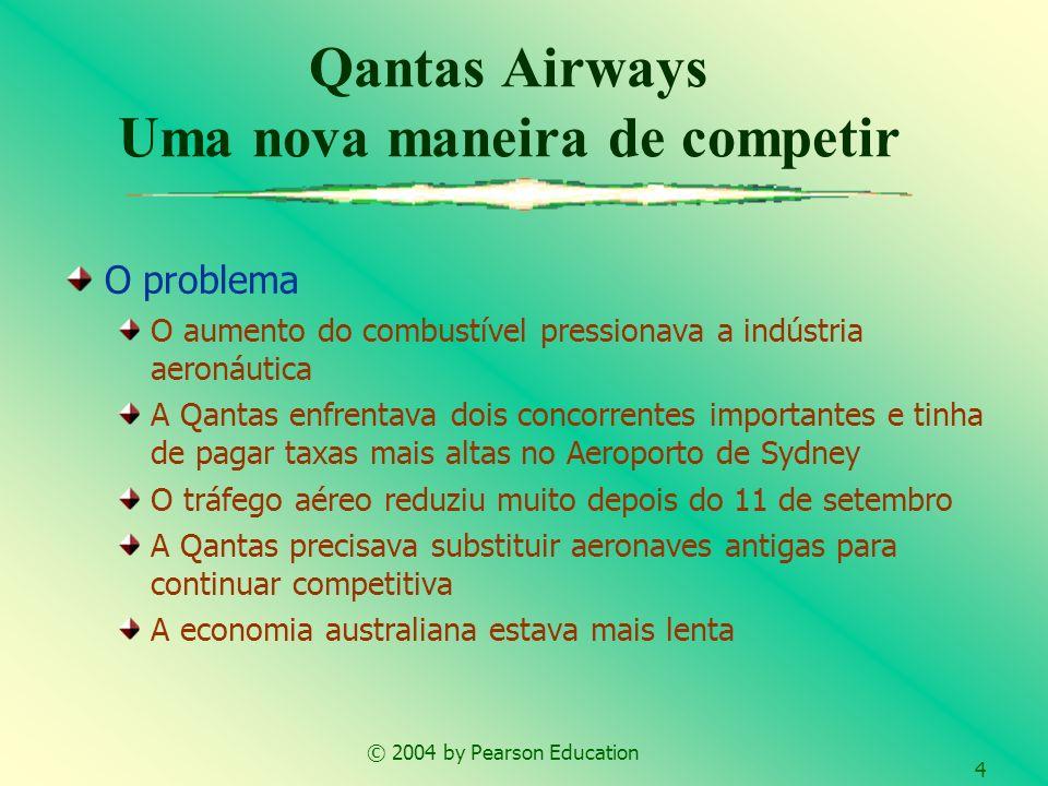 © 2004 by Pearson Education 4 Qantas Airways Uma nova maneira de competir O problema O aumento do combustível pressionava a indústria aeronáutica A Qa