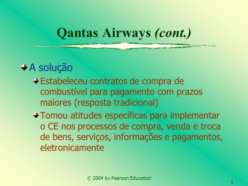 © 2004 by Pearson Education 5 Qantas Airways (cont.) A solução Estabeleceu contratos de compra de combustível para pagamento com prazos maiores (respo