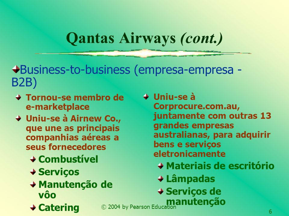 © 2004 by Pearson Education 6 Qantas Airways (cont.) Tornou-se membro de e-marketplace Uniu-se à Airnew Co., que une as principais companhias aéreas a