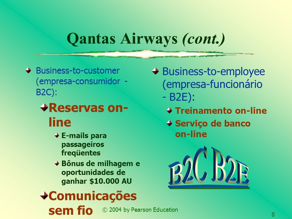 © 2004 by Pearson Education 8 Qantas Airways (cont.) Business-to-customer (empresa-consumidor - B2C): Reservas on- line E-mails para passageiros freqü