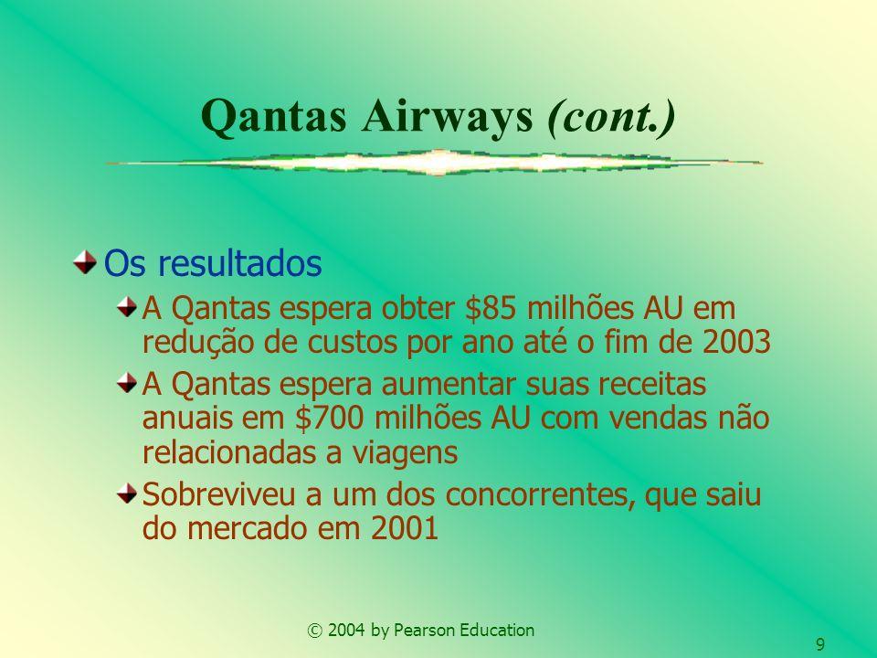 © 2004 by Pearson Education 9 Qantas Airways (cont.) Os resultados A Qantas espera obter $85 milhões AU em redução de custos por ano até o fim de 2003