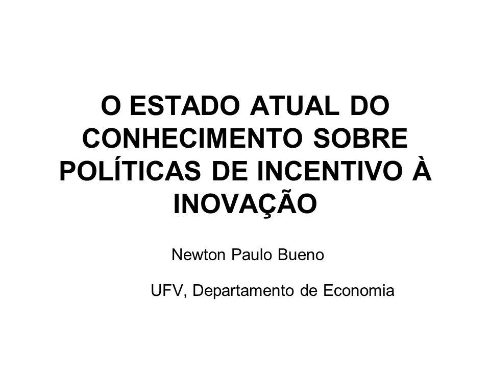 O ESTADO ATUAL DO CONHECIMENTO SOBRE POLÍTICAS DE INCENTIVO À INOVAÇÃO Newton Paulo Bueno UFV, Departamento de Economia