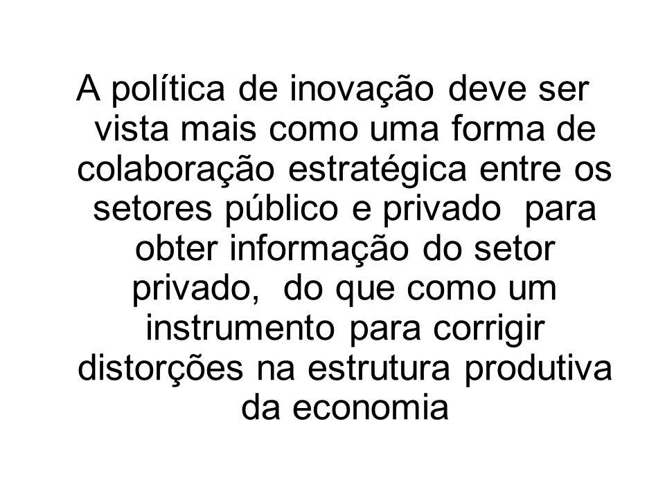 A política de inovação deve ser vista mais como uma forma de colaboração estratégica entre os setores público e privado para obter informação do setor