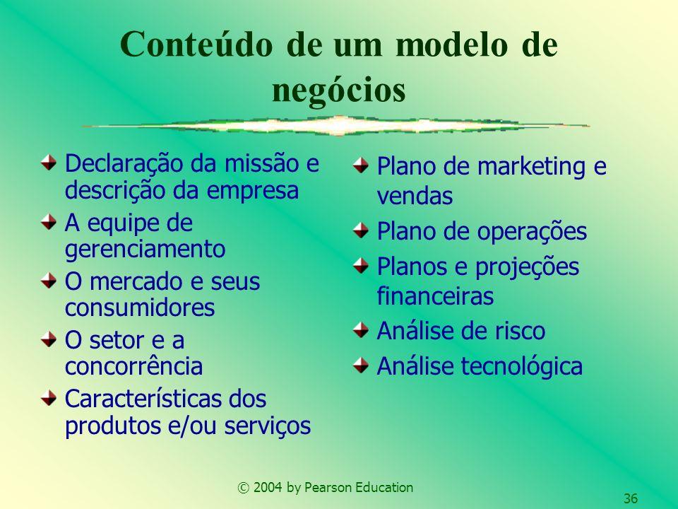 © 2004 by Pearson Education 36 Conteúdo de um modelo de negócios Declaração da missão e descrição da empresa A equipe de gerenciamento O mercado e seu