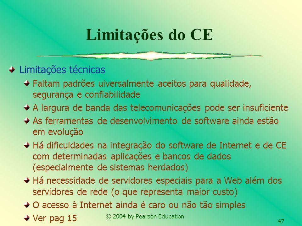 © 2004 by Pearson Education 47 Limitações do CE Limitações técnicas Faltam padrões uiversalmente aceitos para qualidade, segurança e confiabilidade A