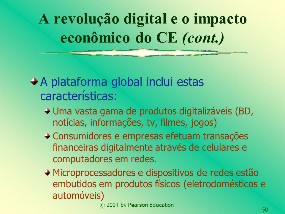 © 2004 by Pearson Education 50 A plataforma global inclui estas características: Uma vasta gama de produtos digitalizáveis (BD, notícias, informações,